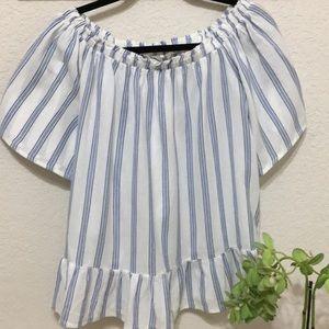 ☀️ Loft cotton striped peplum top w/ties